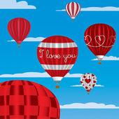 """""""Miluji tě"""" horkovzdušných balónů v angličtině — Stock vektor"""