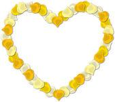 白い背景に黄色のバラの花びらの心ベクトル画像. — ストックベクタ