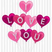I love you balloon card in vector format. — Stock Vector