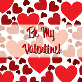 Be My Valentine red heart scatter card in vector format. — Stok Vektör