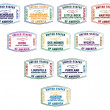 Passport stamps of major US airports in vector format. - Vettoriali Stock