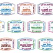 Royalty-Free Stock Vector Image: Passport stamps of US airports in vector format.