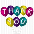 "Bright balloon bunch ""Thank You"" card in vector format. - Stockvectorbeeld"