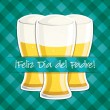 Spanish &amp;quot;Happy Father&amp;#039;s Day&amp;quot; beer card in vector format. - Stock Vector