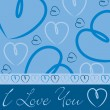 Blue hand drawn heart card in vector format. — Vettoriali Stock