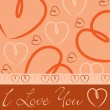 Orange hand drawn heart card in vector format. — Stockvectorbeeld