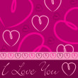 Magenta hand drawn heart card in vector format. — Stockvectorbeeld