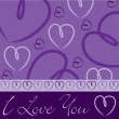 Violet hand drawn heart card in vector format. — Vettoriali Stock