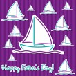 Bright Father's Day sailing boat cards in vector format. — ベクター素材ストック