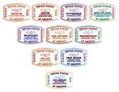 Passport stamps of major US airports in vector format. — Stock Vector