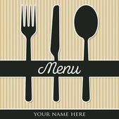 Cutlery theme paper cut out menu in vector format. — Stock Vector