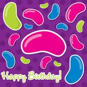 Cartão de feliz aniversário de feijão de geléia em formato vetorial. — Vetor de Stock