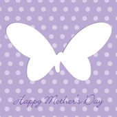Mauve Mother's Day polka dot butterfly cut out card in vector format. — Stock Vector