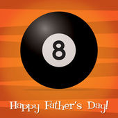 Bright billiard ball Happy Father's Day card in vector format. — Stock Vector