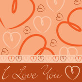 Carta di cuore disegnato a mano arancione in formato vettoriale. — Vettoriale Stock