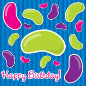 Happy Birthday jelly bean sticker card in vector format. — Stock Vector