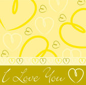 Carta di cuore disegnato a mano gialla in formato vettoriale. — Vettoriale Stock