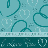 Aqua hand drawn heart card in vector format. — Stock Vector