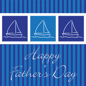 """Yacht """"Happy Father's Day"""" card in vector format. — Stock Vector"""