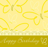 Yellow hand drawn Happy Birthday butterfly card in vector format. — Stock Vector