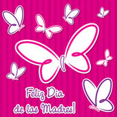 "Bright Spanish butterfly ""Happy Mother's Day"" sticker card in vector format. — Vettoriale Stock"