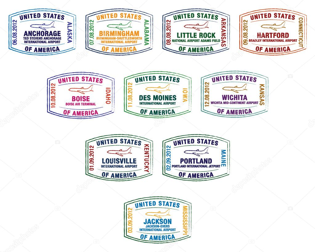 Passport stamps of major US airports in vector format. — Stock Vector #10297691