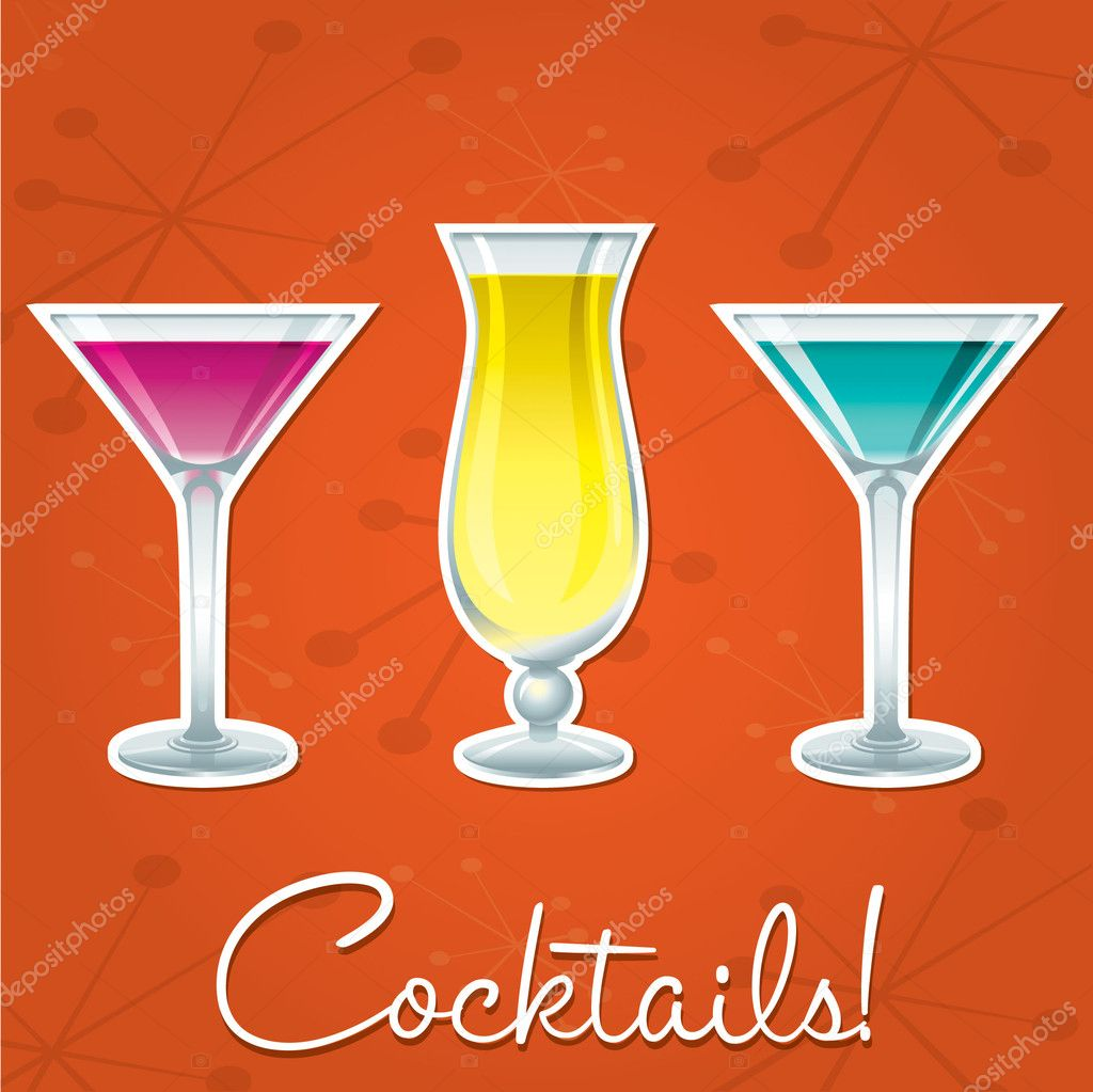 Bright retro cocktail card in vector format. — Stock Vector #10298960