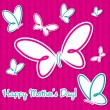 Pink and aqua butterfly &amp;quot;Happy Mother&amp;#039;s Day&amp;quot; sticker card in vector format. - Stok Vektr