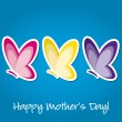 Butterfly &amp;quot;Happy Mother&amp;#039;s Day&amp;quot; sticker card in vector format. - Stok Vektr