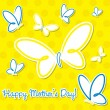 Yellow and blue butterfly &amp;quot;Happy Mother&amp;#039;s Day&amp;quot; sticker card in vector format. - Stok Vektr