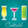 Bright retro cocktail card in vector format. - Stok Vektr