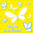 Bright Spanish butterfly &amp;quot;Happy Mother&amp;#039;s Day&amp;quot; sticker card in vector format. - Stok Vektr