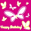 Butterfly birthday card in vector format. - Stok Vektr