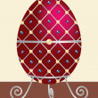 A red, silver detailed, cream and black pearl encrusted Easter egg on a stand in vector format. — Stock Vector