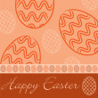Orange 'Happy Easter' hand drawn egg card in vector format. — Stock Vector
