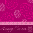 Fuchsia 'Happy Easter' hand drawn egg card in vector format. — Stock Vector