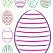Bright hand drawn Easter eggs in vector format. — Stock vektor