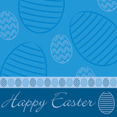 Blue 'Happy Easter' hand drawn egg card in vector format. — Stock Vector