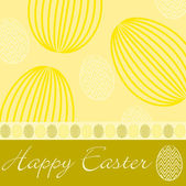Yellow 'Happy Easter' hand drawn egg card in vector format. — Stock Vector