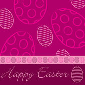 Magenta 'Happy Easter' hand drawn egg card in vector format. — Stock Vector