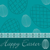 Aqua 'Happy Easter' hand drawn egg card in vector format. — Stock Vector