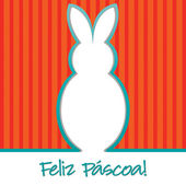 "Portuguese ""Happy Easter"" bright bunny cut out card in vector format. — Stock Vector"