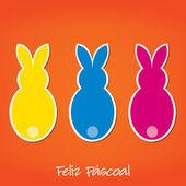 Tarjeta de conejito de pascua portuguesa en formato vectorial. — Vector de stock