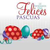"""Spanish """"Wishing you a Happy Easter"""" scattered egg cards in vector format. — Stock Vector"""