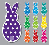Polka dot Easter Bunny Stickers in vector format. — Stock Vector