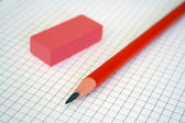 Pencil & rubber — Stock Photo