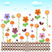 Colorful and happy garden — Stock Vector