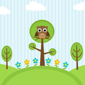 Owl on trees — Vecteur