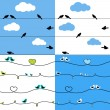 Stock Vector: Birds on wires