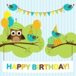 Stock Vector: Party birds card